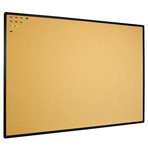 JILoffice Cork Board Bulletin Board 48 x 36 Notice Board , Black Aluminum Frame Wall Mounted Board for Office Home and School with 10 Push Pins
