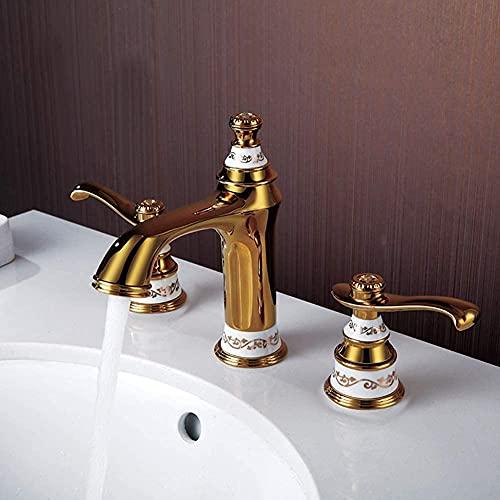 Dividido Cobre de Tres Piezas Grifo Dorado Mezclador Lavabo Antiguo Baño Rústico Doble Asa Mezclador para Fregadero Agua Fría y Caliente Estilo Europeo