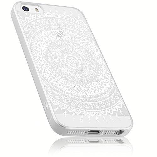 mumbi Hülle kompatibel mit iPhone SE / 5 / 5S Handy Case Handyhülle mit Motiv Mandala Weiss, transparent