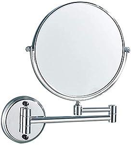Relación calidad-precio Ronda de 8 pulgadas de maquillaje de montaje en pared con espejo redondo de 3 aumentos, extensible y plegable de alta definición del espejo cosmético de cobre cromado, base red