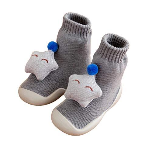 Lsgepavilion Calcetines de invierno cálidos, 1 par de calcetines de otoño y invierno engrosados para el suelo de los niños y bebés, calcetines de tubo alto, regalo para Navidad gris 25