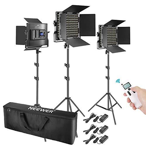 Neewer 3 Pacco Kit di illuminazione Avanzata per Video 2,4G 660 LED, Pannello LED Bi-colore Dimmerabile con Schermo LCD Telecomando 2,4G Supporto di Luce per Fotografia di Ritratto Prodotto