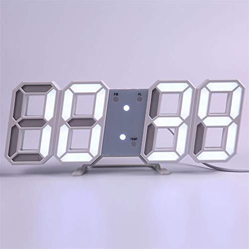 N\A Wanduhr modern Wanduhr Modern Design Wohnzimmer Dekor Watchuhr 3D LED Digital Table Alarm Nightlight Leuchten Desktop (Farbe : Wall Clock i)