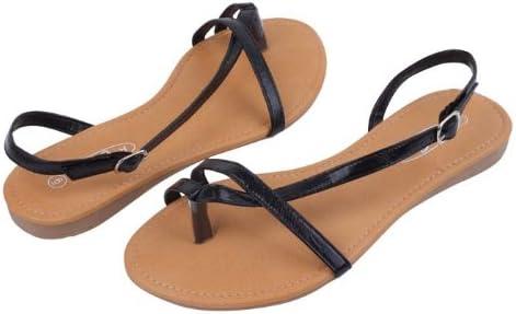 starbay New Brand Women's Black Strappy Gladiator Sandals Flats