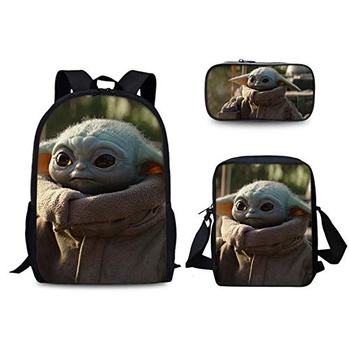 UNILIFE 3-teiliges Kinderrucksack-Set Baby-Yoda-Rucksack mit Lunch-Einkaufstasche und Federmäppchen Mandalorian Schulrucksack für Mädchen und Jungen