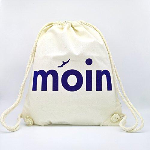 Turnbeutel Moin - Handmade von Ahoi Marie - Hipster Sport-Beutel in weiß - Maritimer Stoff-Rucksack aus zertifizierter Bio Baumwolle