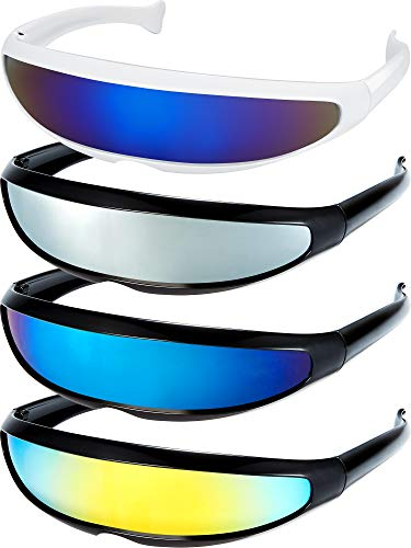 4 Pairs of 80s Style Cyclops Robot Monlens Sunglasses