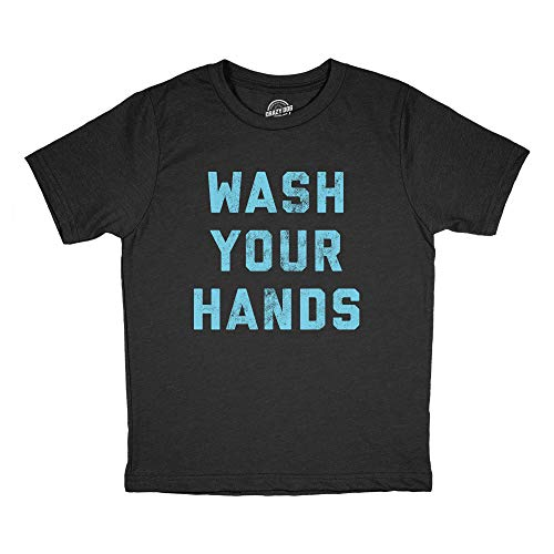 Youth Wash Your Hands Tshirt Funny Virus Protection Novelty Advice Tee (Heather Black) - L