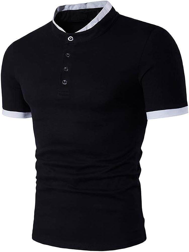 Rela Bota Mens Fashion Henley T Shirts - Basic Cotton Shirts Slim Short Sleeve Black