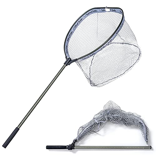 Large Floating Landing Net for Freshwater & Saltwater Long Handle Fishing Net for Boat 5.5 Ft Length 2 Ft Width 3.3 Ft Deep Rubberized Mesh Pocket Telescopic Collapsible and Foldable Easy Storage