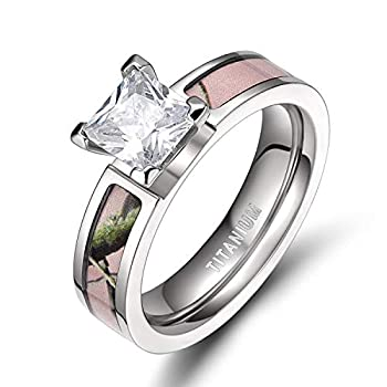 TIGRADE 5MM Pink Camo Titanium Rings with Cubic Zirconia Ring for Women Size 5-12 Style #2 Size 7