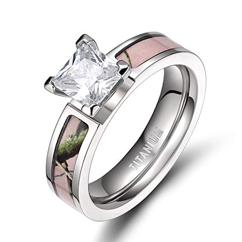 TIGRADE 5MM Pink Camo Titanium Rings with Cubic Zirconia Ring for Women Size 5-12, Style #2, Size 8