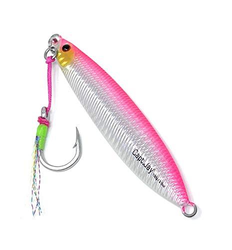 Capt Jay Fishing Saltwater jigs Speed Jigging Slow Jigging Pitching Lures,Vertical Jigging Artificial Lures Jigging Lure Fishing jigs (100g New Pink, 100g)