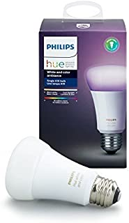 Philips Hue White and Color Ambiance A19 60W Equivalent Dimmable LED Smart Light Bulb, 1 Smart Bulb, Works with Alexa, App...