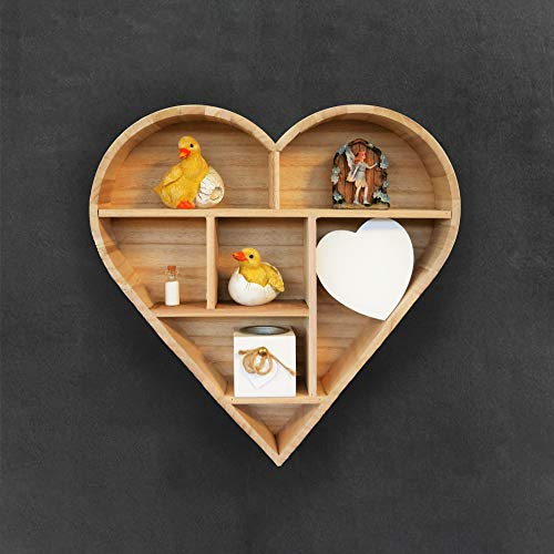 HomeZone® Wooden Shabby Chic Natural Floating Heart Decorative Wall Shelf  Modern and Unique/Rustic. Small Wooden Shelf for Home and Kitchen (Natural)