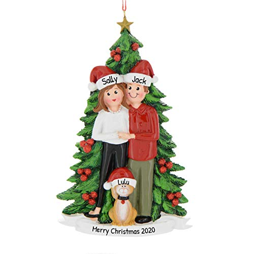 Personalized Christmas Tree Couple with Cat Ornament 2020 - Cute Happy Together Pet Sibling Friend Festive Parent Winter Activity Tradition Holiday Year New Orange Brown Santa - Free Customization
