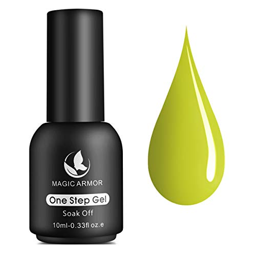 MAGIC ARMOR One Step Gel Nail Polish No Need Base and Top Coat Fast Cure UV Gel Polish 10ML Nail Art Manicure Kit Gift Box Neon Yellow - 009