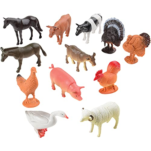 Farm Animal Toys - Pack of 12 - Plastic Farm Animals for Toddlers and Kids  Realistic 3-5 Inch Ranch / Barnyard Animal Toy Figures Styles Include Sheep  Horse  Goat  Duck  Chicken  Turkey  Cow  Pig