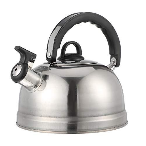 YARNOW 1, 2L Flötenkessel Pfeifender Wasserkocher Kunststoff Edelstahl Teekessel Wasserkessel Teekanne mit Griff für Herd Küche Drinnen Draußen Wandern Picknick Camping Gasherd Silber