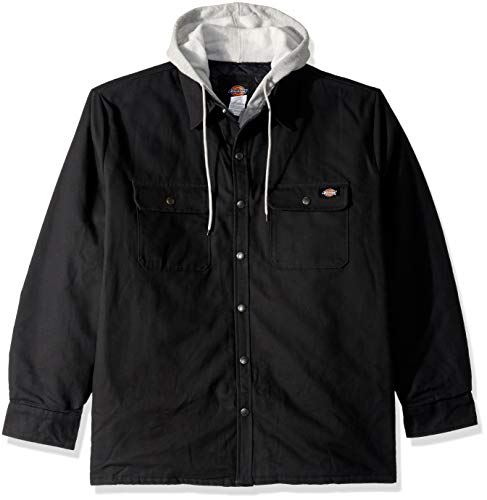 Dickies Men's Relaxed Fit Hooded Quilted Shirt Jacket, Black, S