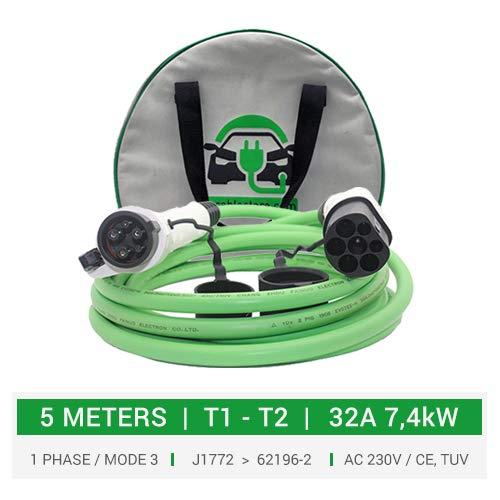 Cable de carga tipo 1 a tipo 2 para coches eléctricos, PHEV. 32A - 5 metros