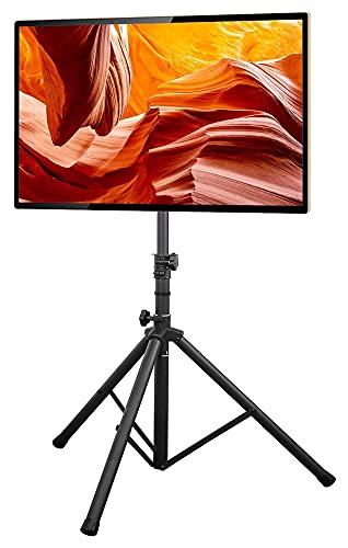 TabloKanvas TELEVISOR Soporte Plegable del trípode TELEVISOR Poste Ajustable de Altura de Soporte para la mayoría de los televisores de Pantalla Plana/Curvada de 32-70 Pulgadas (Color : Black)