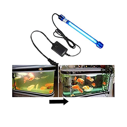 Better F 7W 11W IP68 Submersible UV light Sterilizer for Aquarium Water Clean,Fish Tank Filter Pump, Lifetime Replacement Lamp, Waterproof Sterilization Light (11W, IP68)