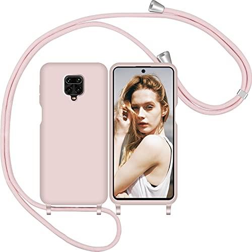 Nupcknn Funda Silicona con Cuerda para Xiaomi Redmi Note 9S/ 9 Pro/Pro MAX,Carcasa Suave Silicona Case con Correa Colgante Ajustable Collar Correa de Cuello Cadena Cordón(Oro Rosa