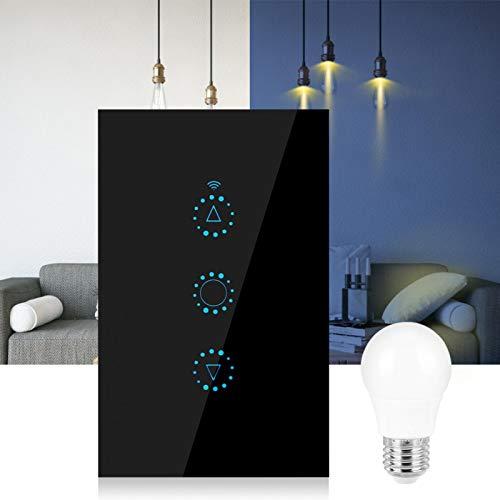Yivibe Interruptor Inteligente, Interruptor de lámpara de Control Remoto con atenuación Continua, WiFi Universal para el hogar de la Oficina(Black, US Standard 90-250v)