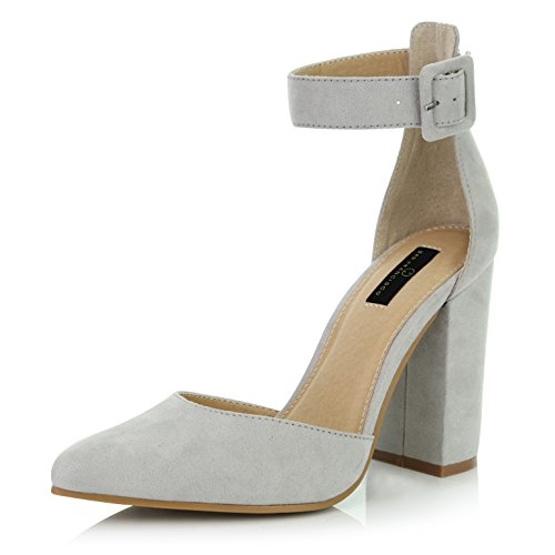 DailyShoes Women's Fashion Pointed Toe Chunky Ankle Strap