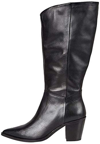 Marca Amazon - find. Knee High Pull On Leather Western Botas Altas, Negro Black, 38 EU