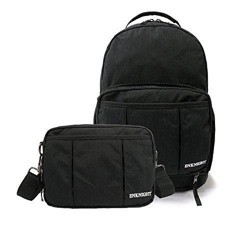 ENKNIGHT Handy Packable Backpack Rucksack Small Day Bag women`s Cross body Bag for Travel (Black)
