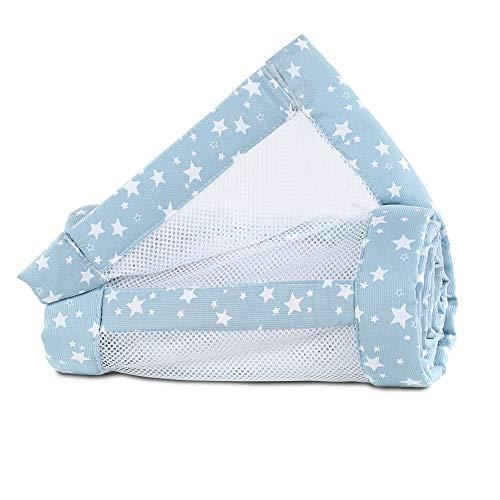 babybay Tour de Lit en Maille-Piqué Convient pour Modèle Original Bleu Ciel avec Étoiles Blanc 1 Unité