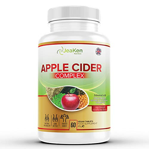 JeaKen - Apple Cider Complex Tablets - Metabolism Booster and Detox - Appetite Suppressant for Weight Loss - Enhanced with Spirulina, Kelp, Bromelain, Lecithin, Vitamin B6 (60 Tablets)