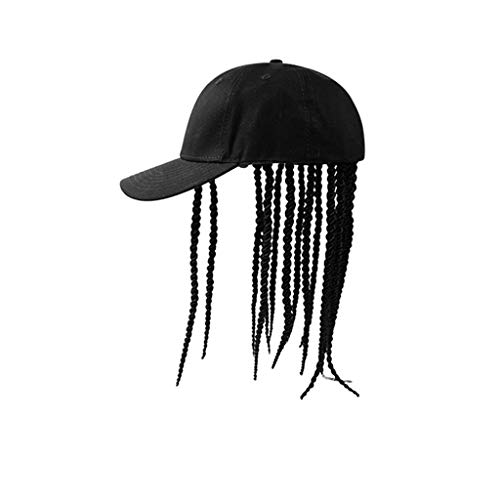 JYA SEIDE Perücke, Dreadlocks, Kopfseil Band Reggae Street Dance Hip Hop Baseballmütze (Farbe : SCHWARZ)