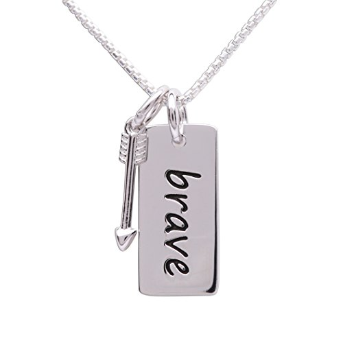 Girl's or Women's'Be Brave or Fearless' Sterling Silver'Brave' Pendant with Arrow Charm