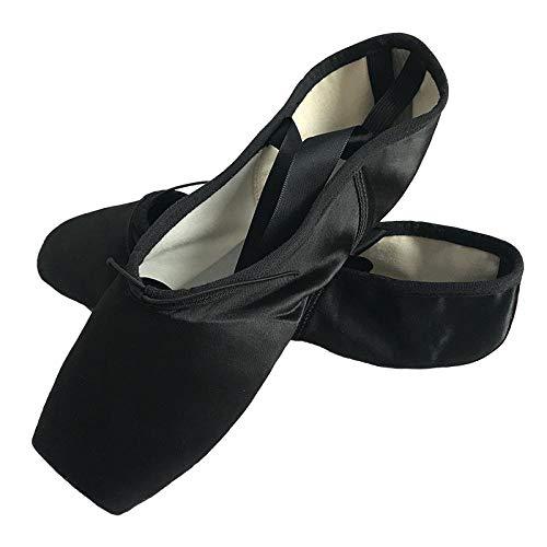 Zapatos de Baile de Ballet A3 para niños y Adultos, Zapatos de Baile en Punta, Zapatos Profesionales con Cintas, Zapatillas de Deporte para Mujer-Negro_39