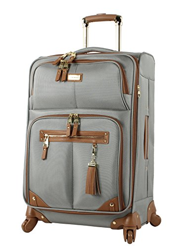 Steve Madden Designer Luggage Collection - Lightweight 24 Inch Expandable Softside Suitcase - Mid-size Rolling 4-Spinner Wheels Checked Bag (Harlo Gray)