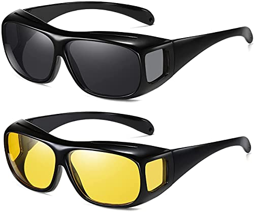 NASONEB HD Vision Day and Night Unisex HD Vision Goggles Anti-Glare Polarized Sunglasses Men/Women Driving Glasses Sun Glasses UV Protection All Bikes & Car (Yellow & Black) - Pack of 2