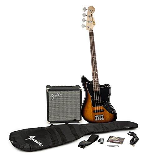 Squier by Fender Jaguar Short Scale Beginner Bass Guitar Pack, Sunburst