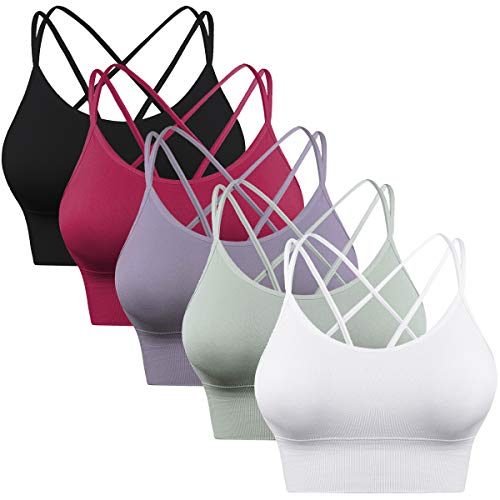 Enjoyoself 5 Pack Womens Strappy Sports Bra for Yoga Running...