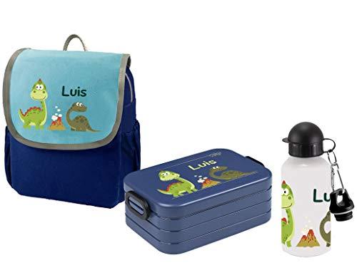 Mein Zwergenland Set 3 Kindergartenrucksack mit Brotdose und Trinkflasche Happy Knirps Next mit Name Blau Dinos im Park