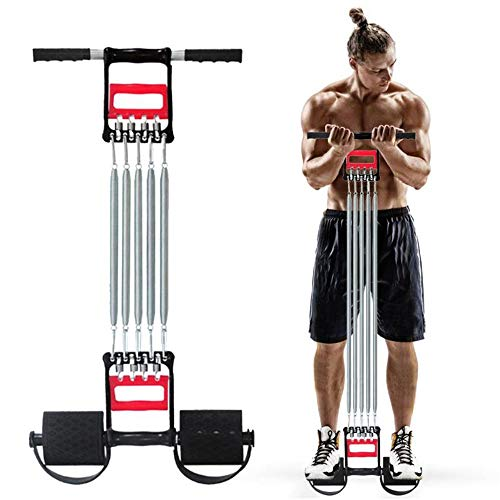 HXDY Tensor Multifuncional, Ejercicio Muscular, Expansor De 5 Resortes, Cuerda Elástica para Tirar del Pedal De Abdominales Y Músculos del Pecho Profesionales Masculinos Negro