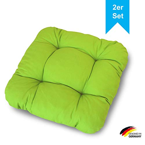 LILENO HOME 2er Set Stuhlkissen Apfelgrün (38x38x8 cm) - Sitzkissen für Gartenstuhl, Küche oder Esszimmerstuhl - Bequeme UV-beständige Indoor u. Outdoor Stuhlauflage als Stuhl Kissen