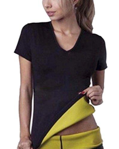 Hombres y Mujeres Neopreno Manga Corta Camiseta Corsé Trajes de Sauna Corset para Sudoración Quema Grasa Cuerpo de Sudor Caliente Chaleco Deportivo Faja Abdome Adelgaza Negro XL