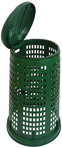 Poubelle poubelle seau en résine Vert avec couvercle pour extérieur de jardin