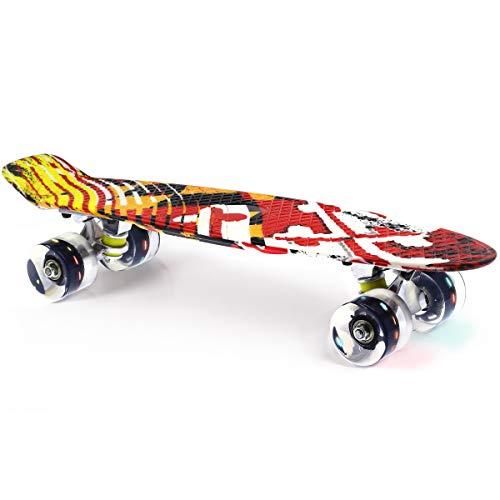 M Merkapa 22' Complete Skateboard with Colorful LED Light Up Wheels for Kids, Boys, Girls, Youths, Beginners(Blue)