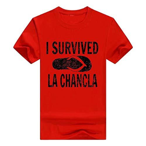 "Camiseta de manga corta para hombre, con texto en inglés ""I Survived La Chancla"", manga corta y talla grande (MTX20200207025"