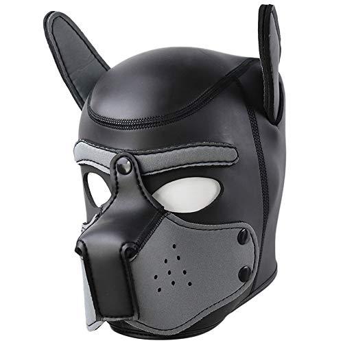 Halloween Maske Puppy MaskeSm MaskeFetisch MaskeLedermaterial Abnehmbarer Mund Für Abschlussball Rollenspiel Halloween-Maske Bdsms Spielzeug Extrem-grey