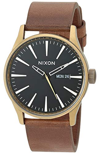 NIXON Men's Stainless Steel Japanese Quartz Watch Strap, Brown, 22 (Model: Sentry Leather)